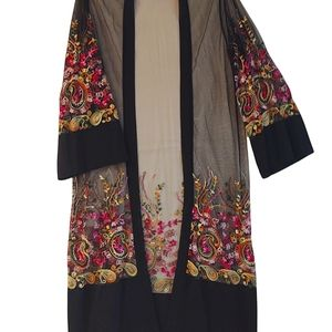 2/$40 Sheer Black Embroidered Long Jacket XXL
